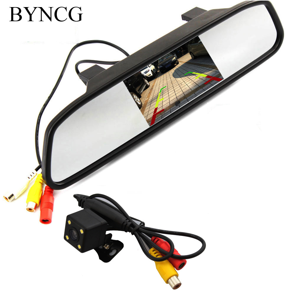 Parking Monitor HD Video Auto , LED Night Vision Reversing CCD Car Rear View Camera With 4.3 inch Car Rearview Mirror Monitor car hd video auto parking monitor led night vision reversing ccd car rear view camera with 4 3 inch car rearview mirror monitor