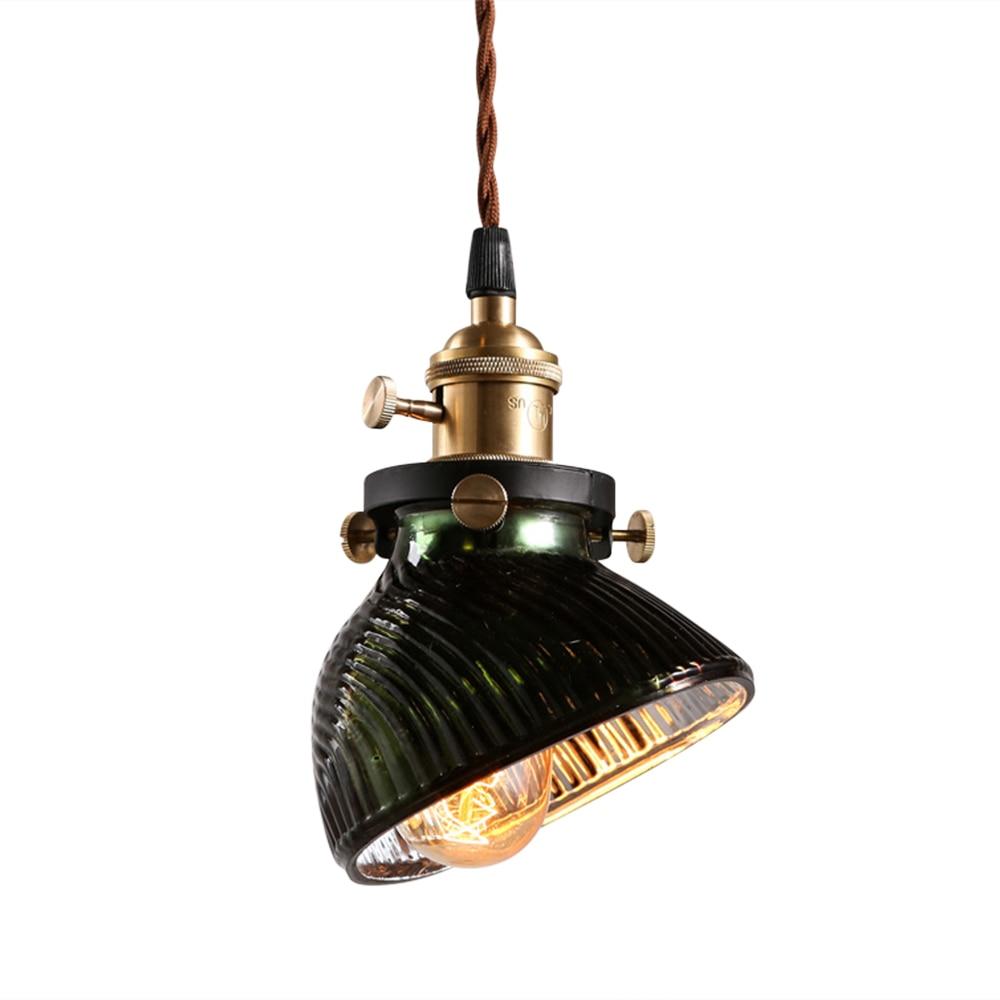 Vintage Green Glass Light Fixture: Homestia American Industrial Pendant Lights Green Glass
