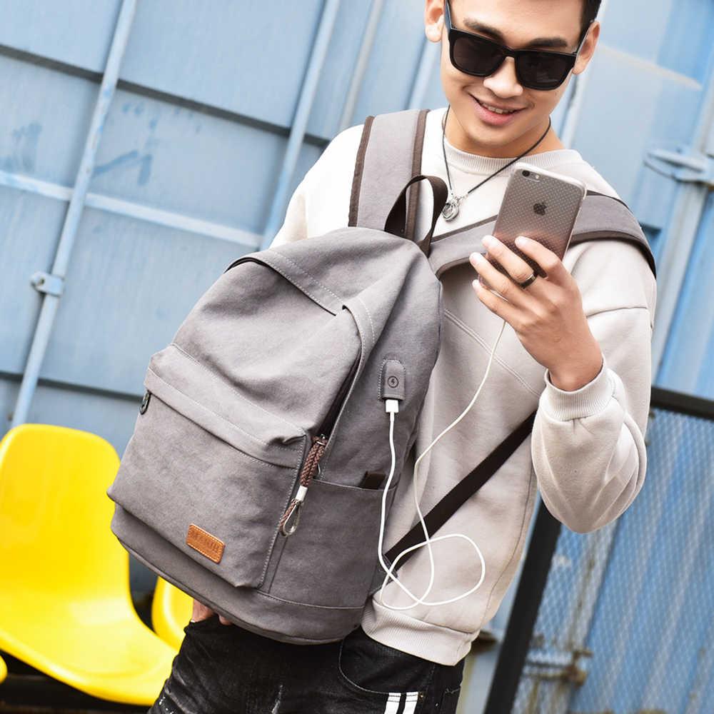MANJIANGHONG גברים בד תרמיל USB בית ספר תרמיל תיק עבור נער 15 אינץ מחשב נייד תרמיל זכר מזדמן תרמיל נסיעות Daypack