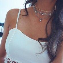 Богемное модное многослойное женское ожерелье с пятиконечной звездой, Серебряное колье с цветным камнем, модные вечерние ювелирные изделия, Новинка