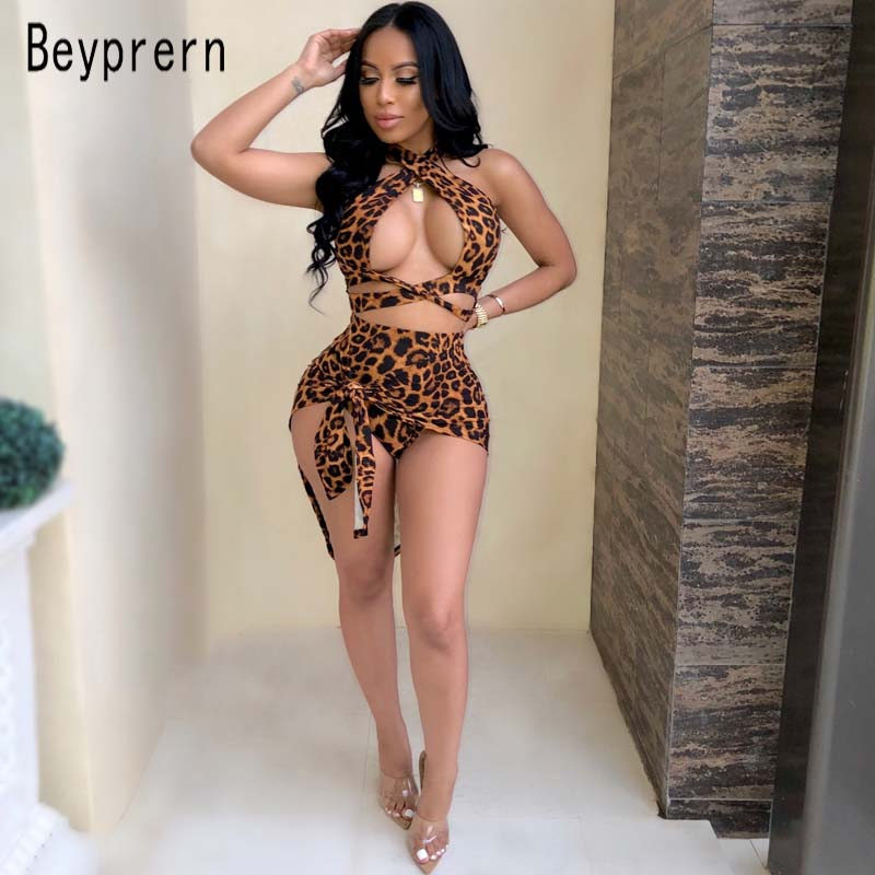 Beyprern Hot Womens Leopard Print Shorts Set With Cover-Ups Sexy Halter Neck Criss-Cross Bandage Beach Set Beach Wears Wholesale