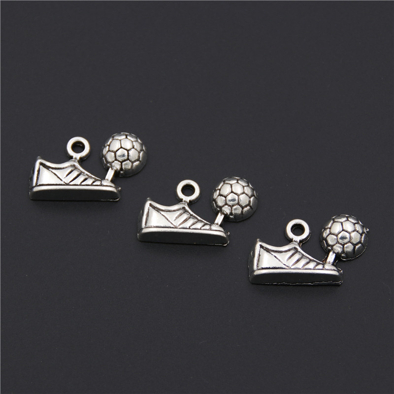 8pcs Antique Silver Football Soccer Shoes With Ball Pendants Making Fit Sports Jewelry F ...