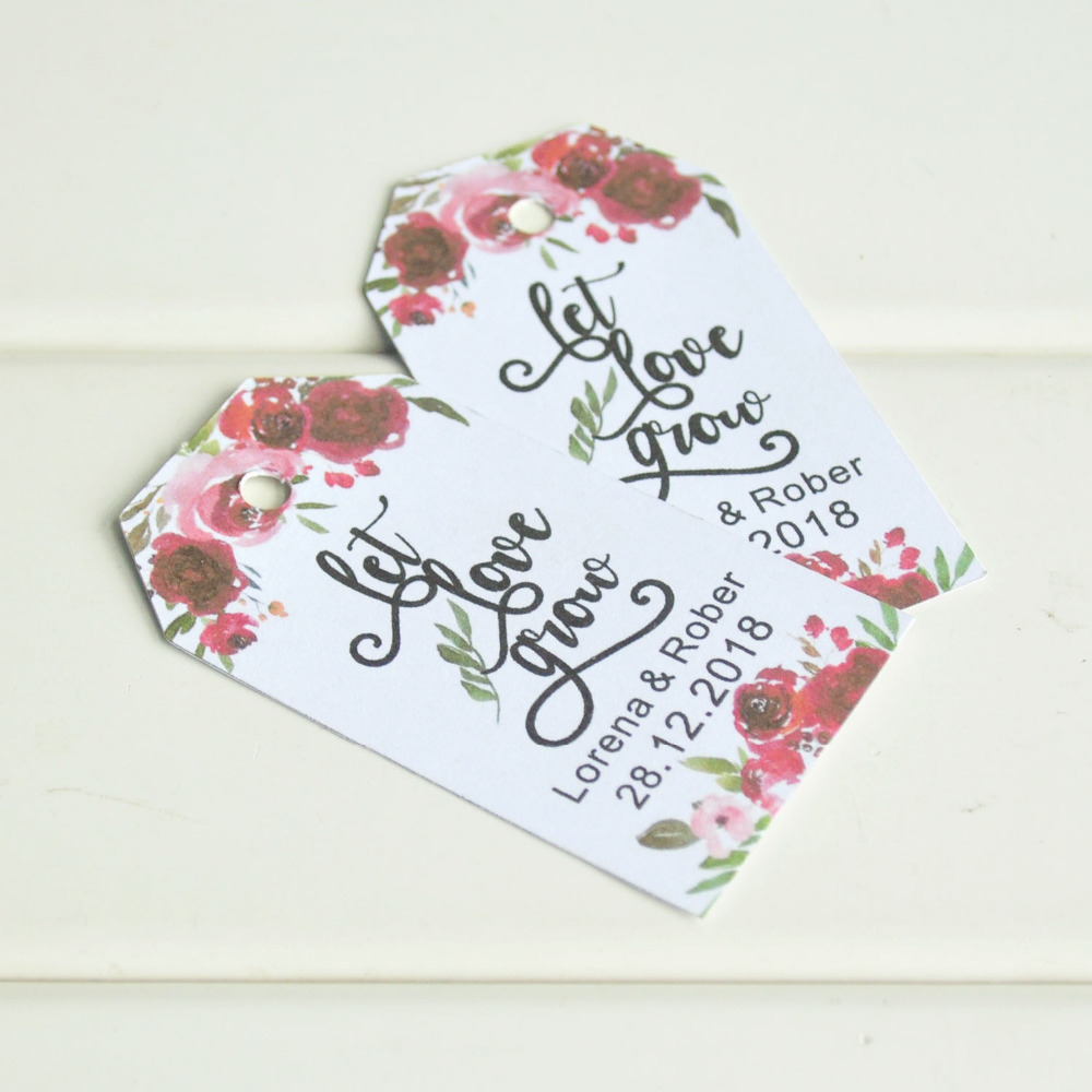 Craft Wedding Gifts: Personalized Flower Wedding Gift Tags Party Favors Candy