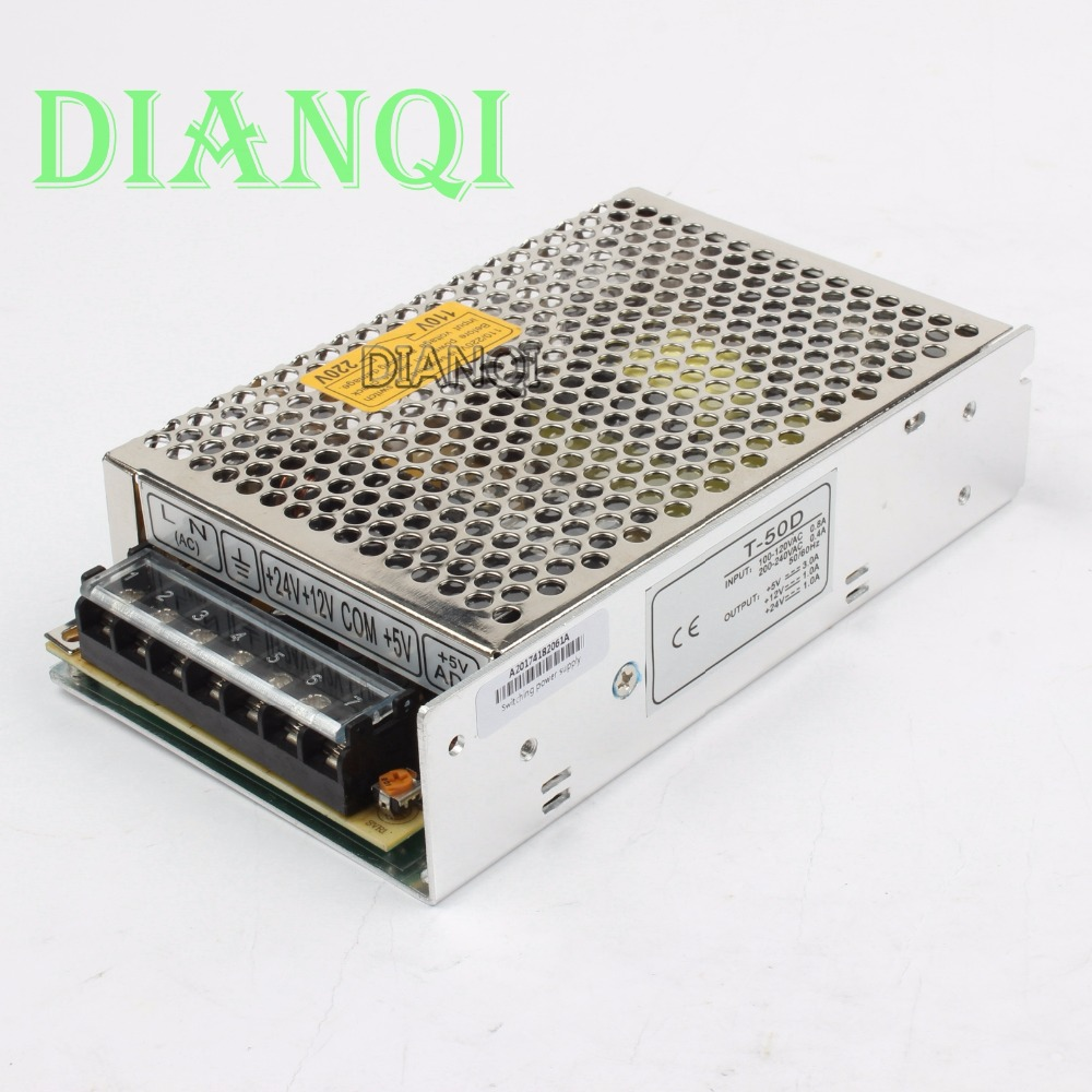DIANQI Triple output power supply 50w 5V 3A, 12V 1A, 24V 1A power suply T-50D ac dc converter good quality 100w triple output switching power supply 5v 12v 12v 3a 1a 0 5a power suply t 100b high quality ac dc converter