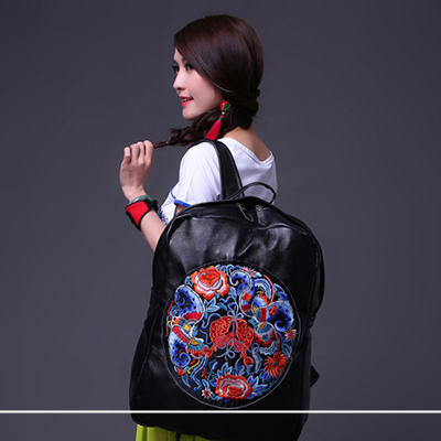 2017 Ethnic Embroidered Flower Print Backpacks Women Bags Genuine Leather Backpack School Bag sac a dos Travel Mochila Feminina women genuine leather backpack luxury soft solid large capacity school bag ladies travel backpacks sac a dos mochila 2017 new