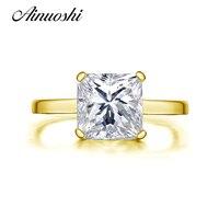 AINUOSHI 10 К одноцветное желтое золото для женщин обручальное кольцо Solitaire 2,25 ct Принцесса Сона Имитация Ювелирные изделия с алмазами NSCD обручен