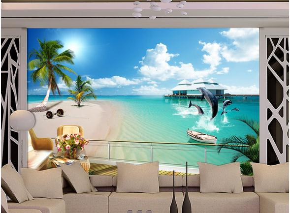 Wall Paper Ocean Beach Murals Scenery Mural Wallpaper Stickers Papel De Parede Wallpapers2017992 In Wallpapers From Home