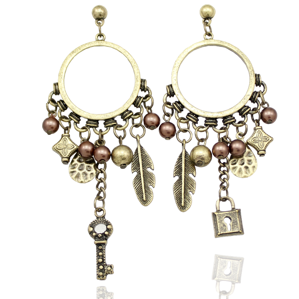 Ethnic Gold Mismatched Lock  Key Feather Hoop Mexican Gypsy Bead Dangle Earrings brincos Jewelry