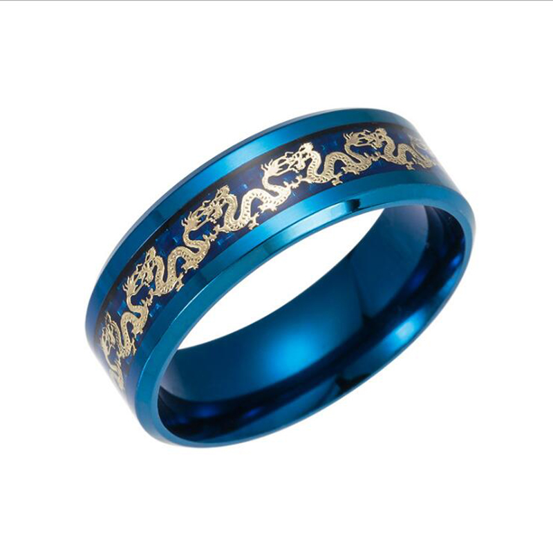Hot Sell Vintage Chinese Dragon Black Gold Blue Plated Ring Jewelry Wholesale Direct Sales Men Stainless Steel Rings For Women