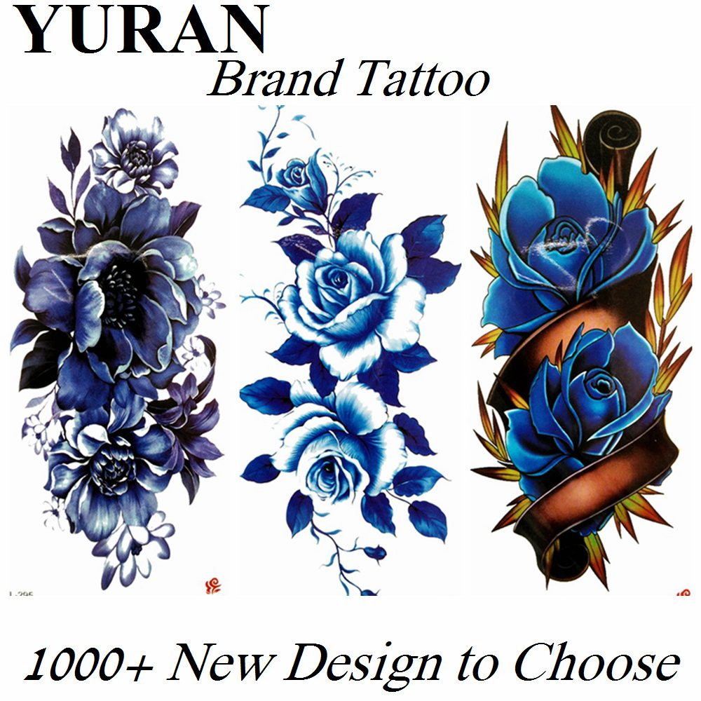 Sexy Blue Flower Rose Peony Temporary Tattoos Large Sticker Fake Waterproof Tattoo For Women Girls Paper Tatoos Body Art Arm