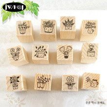 12 pcs/box Flower + smile wood stamp wooden rubber stamps for scrapbooking Handmade card diy stamp Photo Album Craft gifts