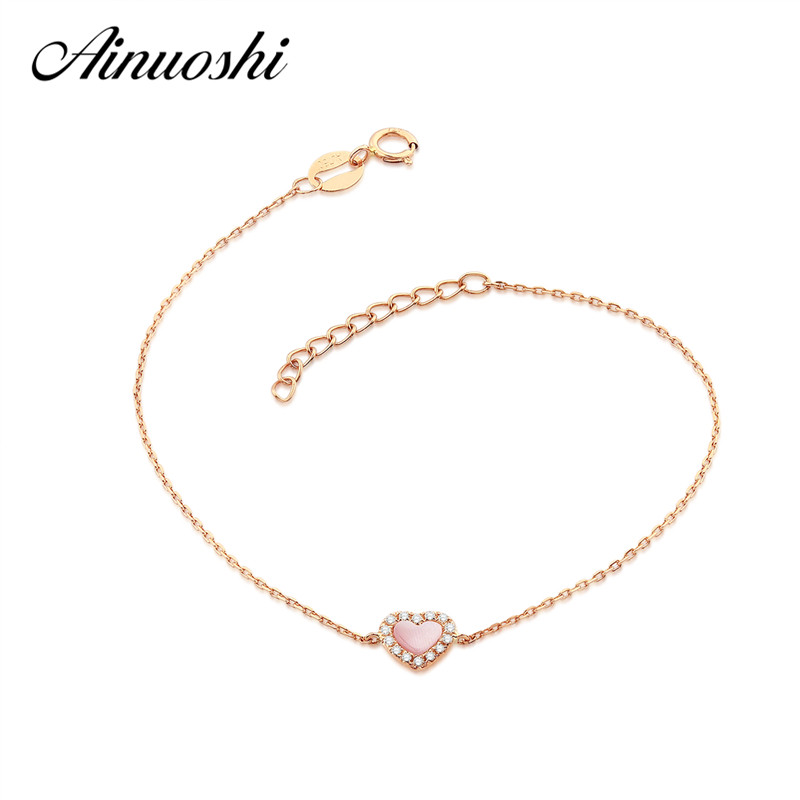 AINUOSHI 18K Rose Gold Fashion Women's Bracelet Fritillary Heart-shaped Lady Engagement Bracelet Jewelry Gifts personalized heart shaped bracelet