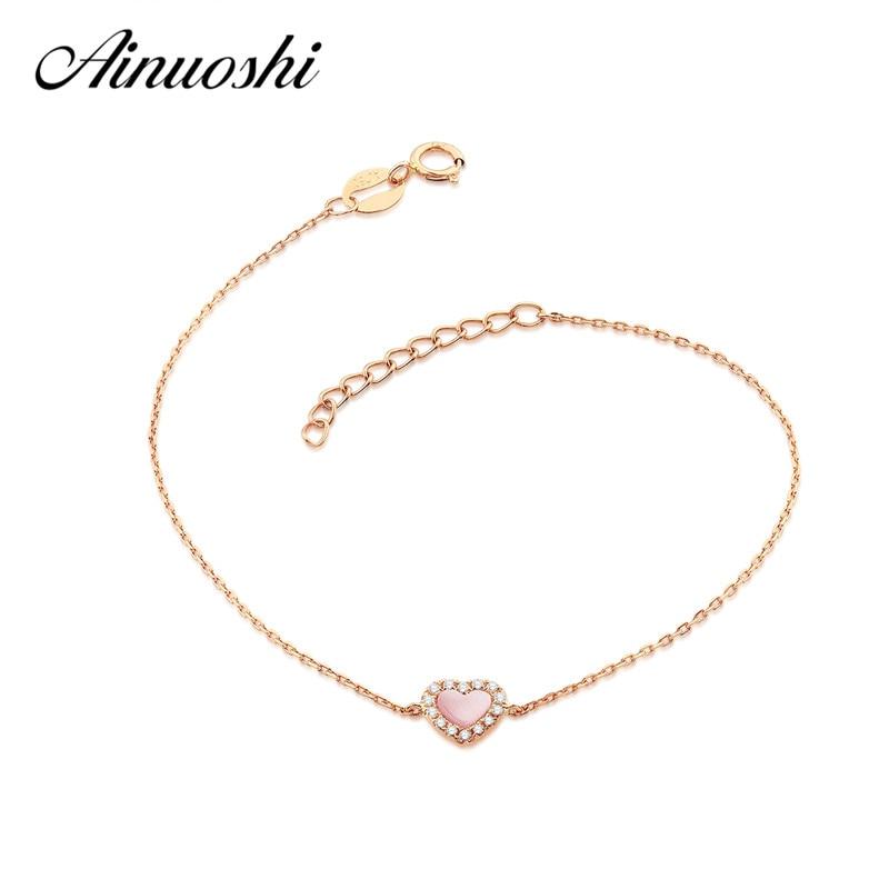 AINUOSHI 18K Rose Gold Fashion Women's Bracelet Fritillary Heart-shaped Lady Engagement Bracelet Jewelry Gifts black heart shaped rose pattern retro bracelet
