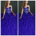 2015 Azul Royal Vestidos Quinceanera vestido de Baile Querida Mangas Ruffles Contas Cristais de Luxo Doce 15 16 Vestidos de Meninas