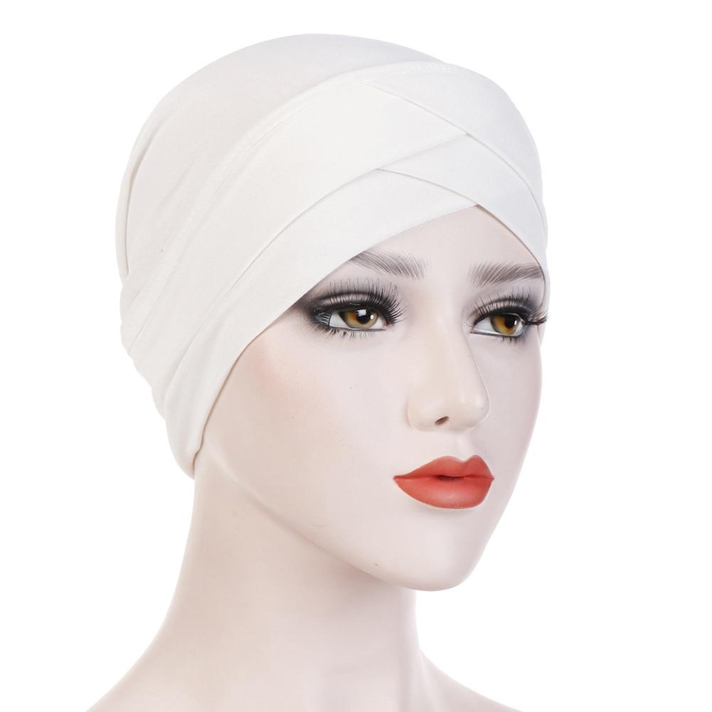 Хиджаб шарф тюрбан шапка s мусульманский головной платок Защита от солнца Кепка Женская хлопковая мусульманская многофункциональная тюрбан платок femme musulman - Цвет: Белый