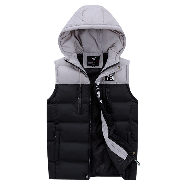 e3f4387d76c35 2018 New Thick Warm Hooded Vest For Men Black Casual Sleeveless Jacket Mens  Cotton Winter Coat
