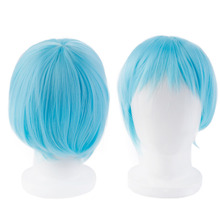 Pro neat Hatsune Miku Cosplay Anime Straight Wig Leek Green Gradually Becoming Dark Green Short Synthetic Hair for Hairpiece Pop