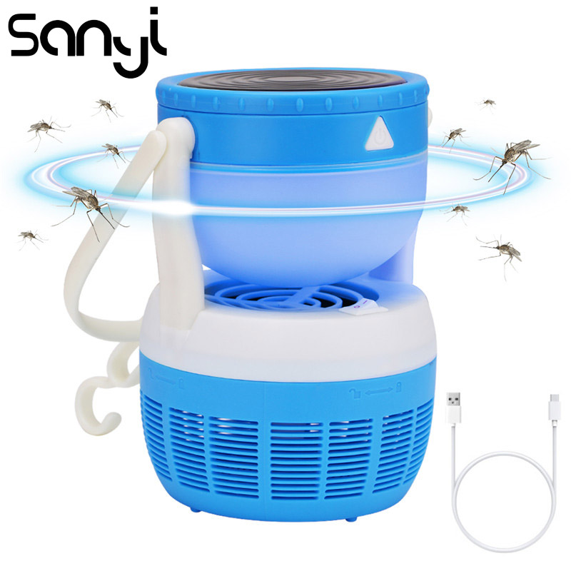 SANYI  USB Electric Rechargeable Mosquito Killer Lamps Lights 18650 Battery Night Light Home LED Bug Zapper Trap Lamp