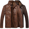 winter men's warm Genuine Leather fur lining jacket coat outwear trench padded