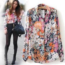 New 2017 Spring Summer Vintage Floral Print Shirt Women Long Sleeve Fashion Chiffon Blouses Tops