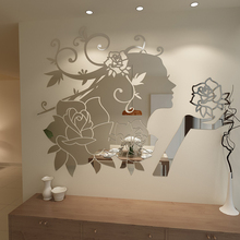 New 2014 3D Girls Princess Flowers Wall stickers Three-dimensional cartoon acrylic mirror surface wall