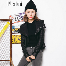 Ptslan 2016 Women s Genuine Lambskin Leather Jacket Real Leather Motorcycle Bomber Long Sleeve Zippe