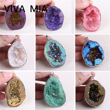 Druzy Agates Opal Pendant Geode Raw Irregular Natural Mineral Crystal Pendants Pendulum Stone For Jewelry Making
