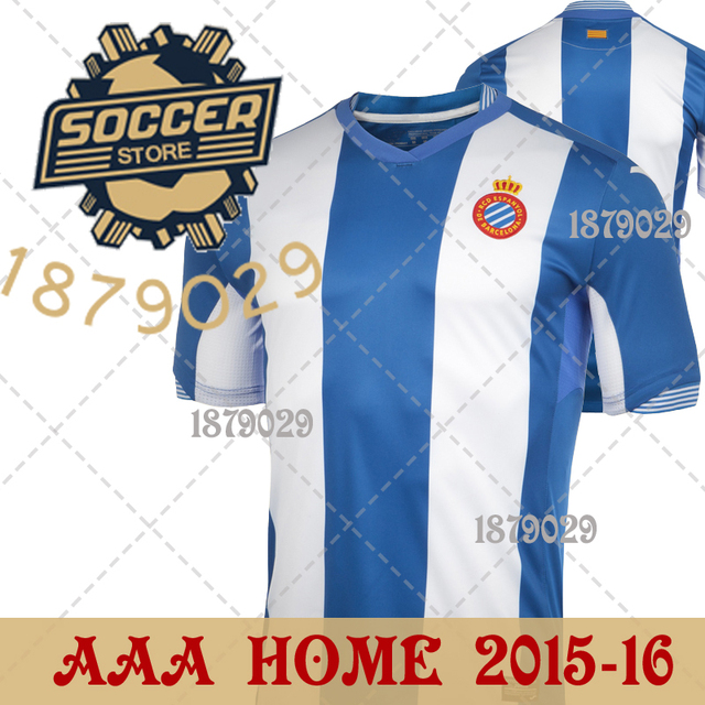 f2e3b844296cf camiseta futbol rcd espanyol jersey 2015 2016 TOP Thailand Quality AAA NEW  HOME BLUE soccer football man short shirt 15 16