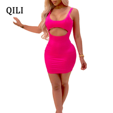 QILI Sexy Hollow Out Sleeveless Bodycon Dress For Women Solid Slim Mini Short Dresses Party Club Female