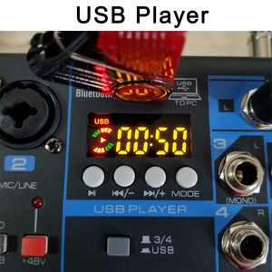 Image 4 - LOMOEHO AM 04 2 מונו + 1 סטריאו 4 ערוצים Bluetooth USB 48V פנטום מקצועי DJ אודיו מיקסר