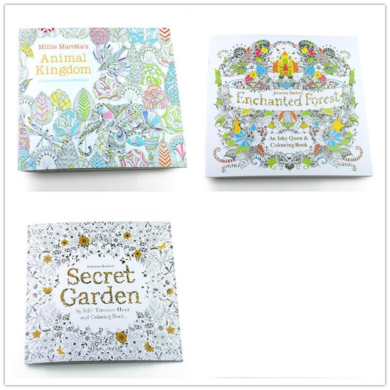 3 ADET İngilizce Sürümü Gizli Bahçe + Enchanted Orman + Hayvan Krallık Boyama Kitabı Her Kitap 24 Sayfa