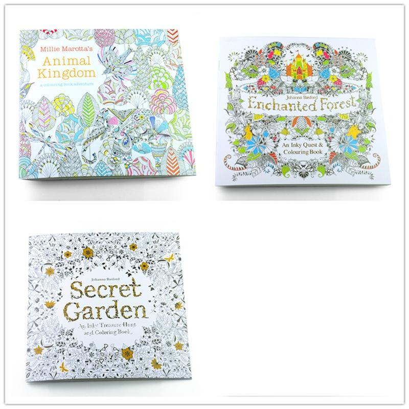 3PCS English Edition Secret Garden+Enchanted Forest+Animal Kingdom Coloring Book Each Book 24 Pages