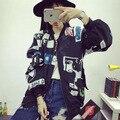 BIGBANG Южная Корея ulzzang G-Dragon с головой ветер BF Harajuku граффити письма бейсбольное пальто и любителей GD студент