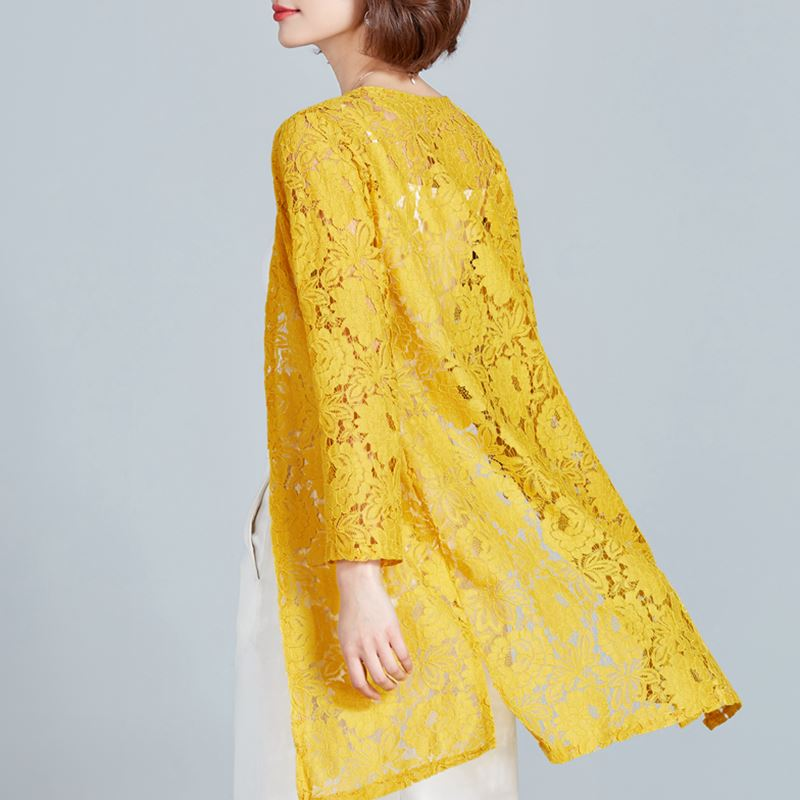563b8bb4f33d5f Lace Crochet Kimono Cardigan Women Beach Plus Size Kimono Mujer 2019 Summer  Hollow Transparent Female Shirts Sunscreen Blouse-in Blouses & Shirts from  ...