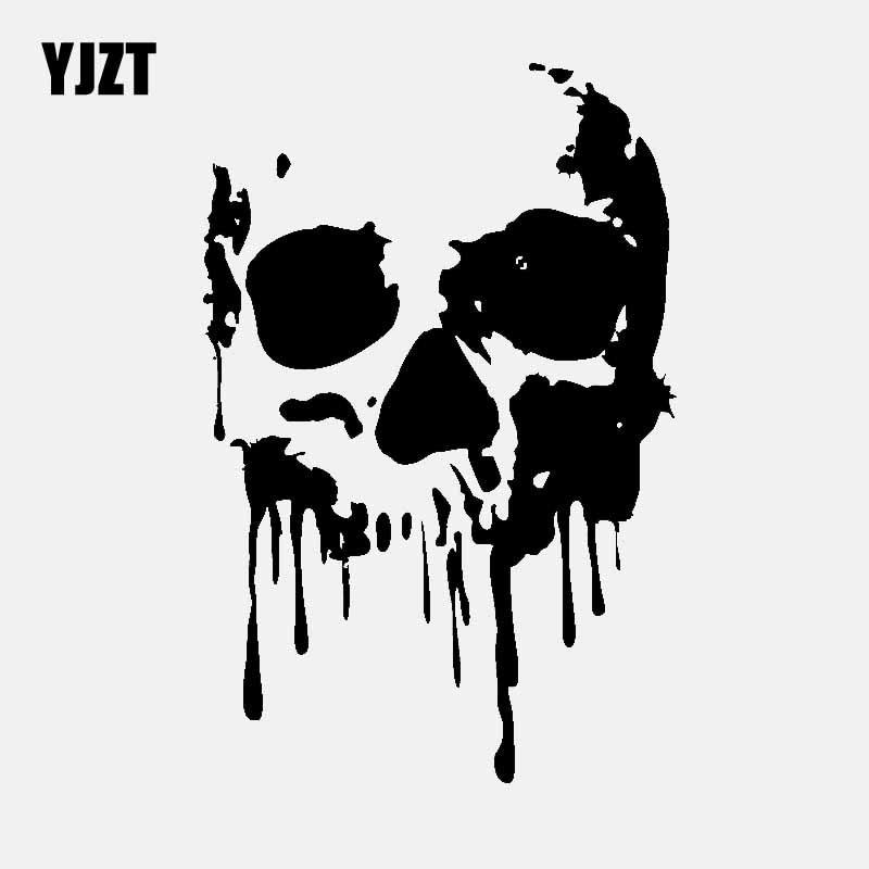 YJZT 10.9CM*16.5CM Bloody Drip Skull Vinyl Decal Car Sticker Black/Silver C3-2002