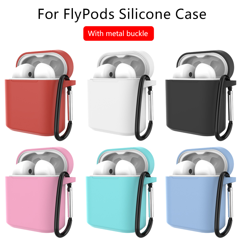 Earphone Case For Huawei Honor FlyPods Fly Pods Pro Protective Silicone Case With Metal Carabiner Hook Anti-slip Shell For Honor