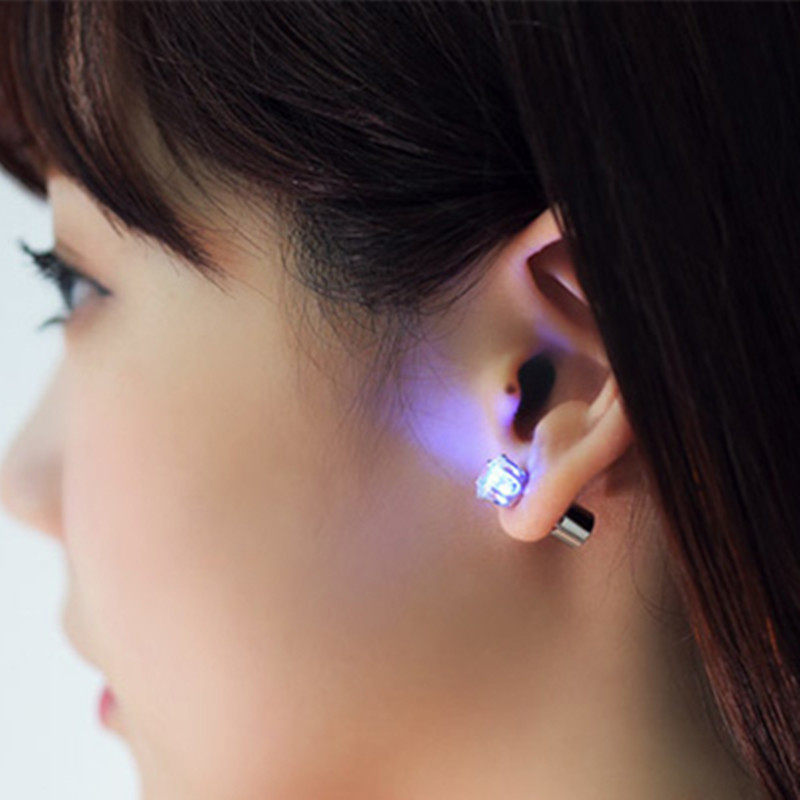 Cool Luminous LED Earrings For Women Men Zircon LED Stud Earrings Bling Shiny Earring Pa ...