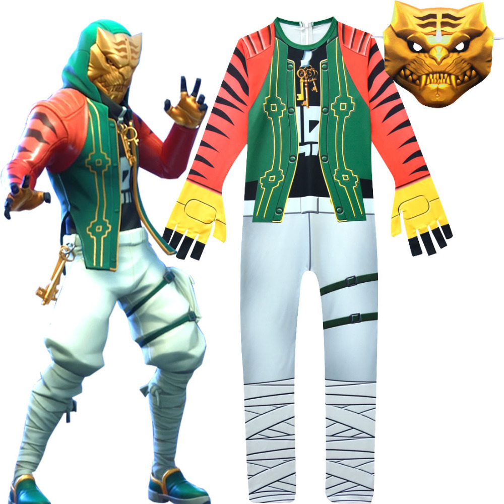 Costumes Kids FfortnitedCosplay Game 8 New Skin Tiger Head People Costumes for Children Halloween Costume for Kids Cosplay Suit