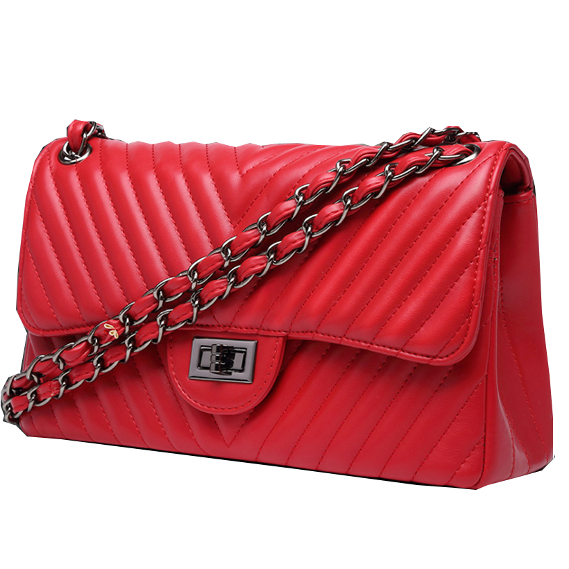luxury handbags women bags designer fashion crossbody bags for women 2018 Double chain Leather caviar Bag v stripe red flap bag юбка pinko 1b12se y3us zlm