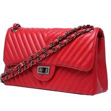 luxury handbags women bags designer fashion crossbody for 2019 Double chain Leather caviar Bag v stripe red hand bag