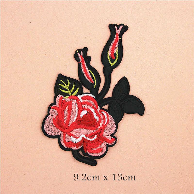 Цветы и змея вышивка нашивки для куртки крепится на наклейки железные аппликации для джинсовые мешки нашивки значки DIY