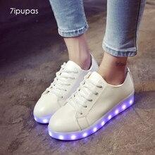 7ipupas Glowing shoe Pu white balck red led Luminous sneaker