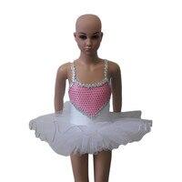 White Ballet Tutu Dress Heart Sequin Nylon Lycra Camisole Leotard Tutu For Ladies And Girls Performance