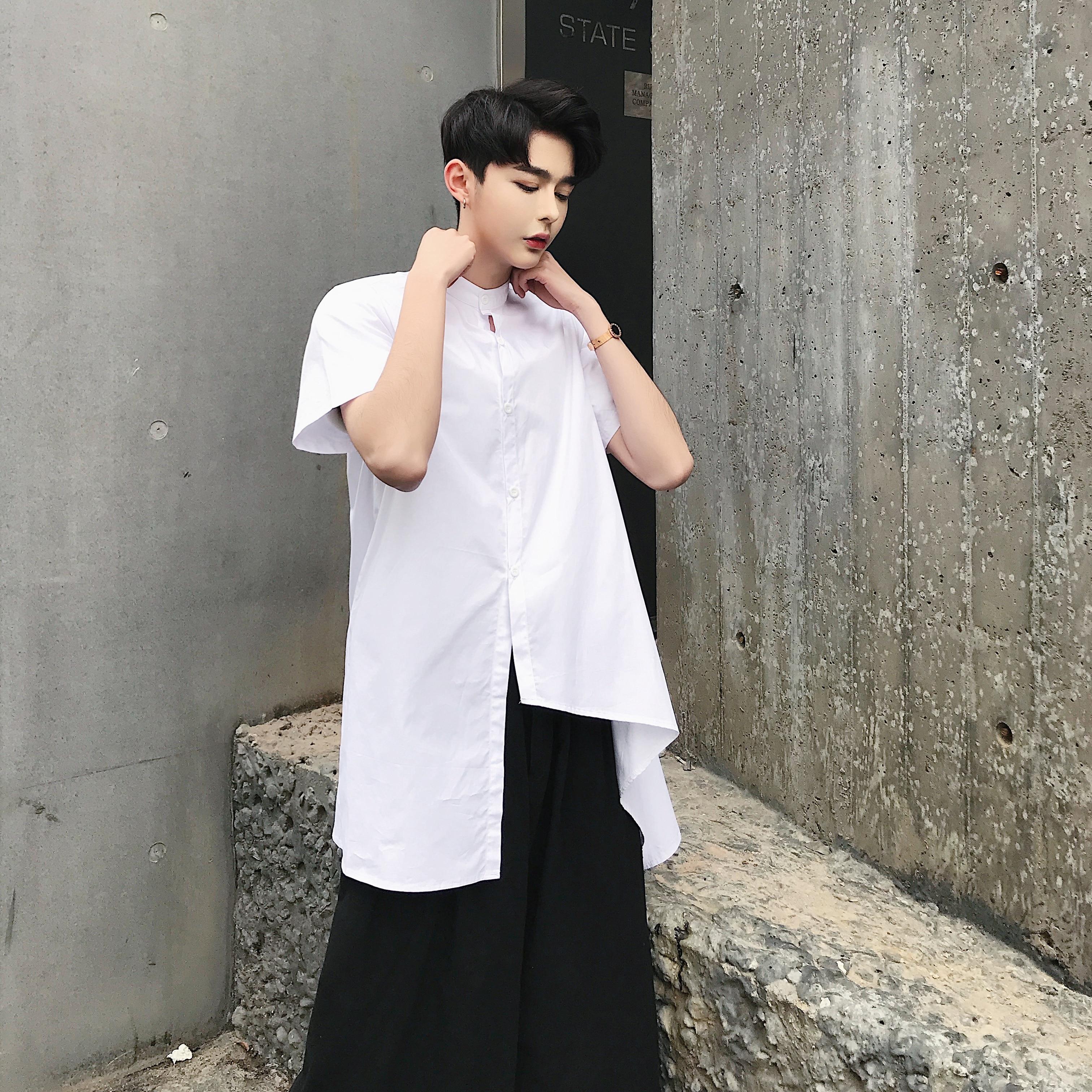 Male Japanese Fashion Solid Short Sleeve Dress Shirts Men Irregular