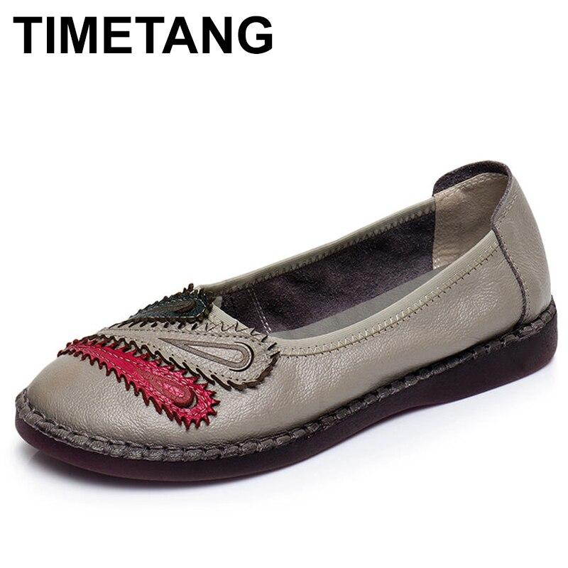 TIMETANG Women Flats New Fashion Genuine   Leather   Flat Shoes Woman Casual Comfortable Shoes Women Shoes C083