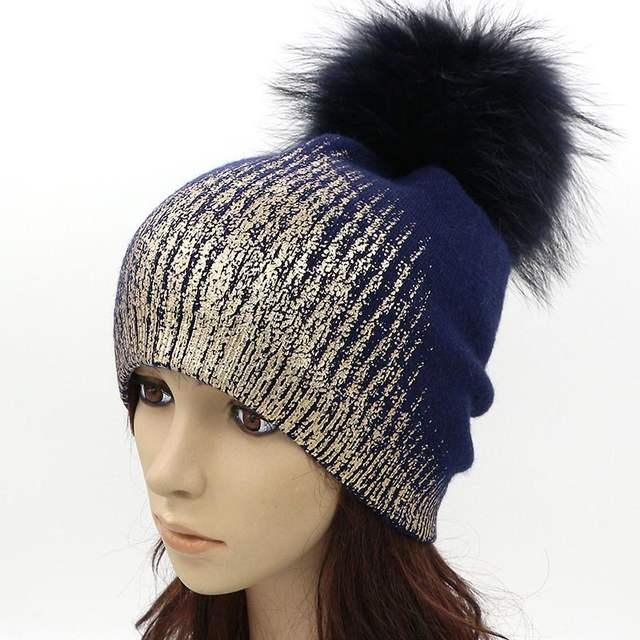 975e40905 GZHilovingL Soft Warm Women Ladies Winter Knitted Beanie Hat Cap With Fur  Pompom Gold Metallic Wool Thick Fur Hats Cap For Girls-in Skullies &  Beanies from ...