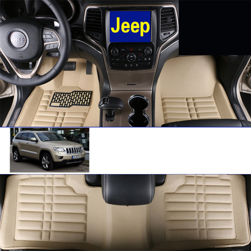 fast shipping waterproof fiber leather car floor mat for jeep grand cherokee wk2 2011 2012 2013 2014 2015 2016 2017 EU approval colts car floor mat set of 2 nfl