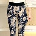 Женские цветки брюки новый 2015 осень свободного покроя женщин мода тонкий показать тонкие эластичный пояс цветочный принт женские длинные брюки 3XL KZ006