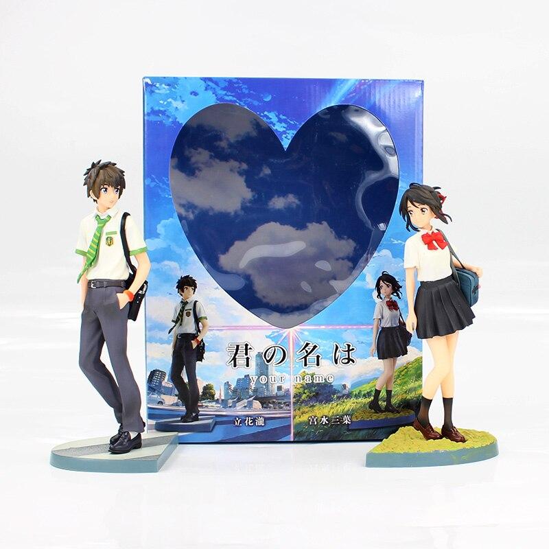 2 sztuk/partia 22cm Anime twoje imię Tachibana Taki Miyamizu Mitsuha pcv figurka kolekcja Model Toy Doll