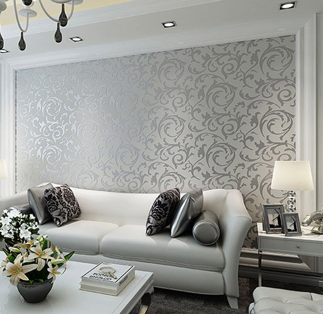 Amazing High Quality Elegant Europe 3d Leaf Design Wallpaper Non Woven Wallpapers  Silver Golden Wall Paper